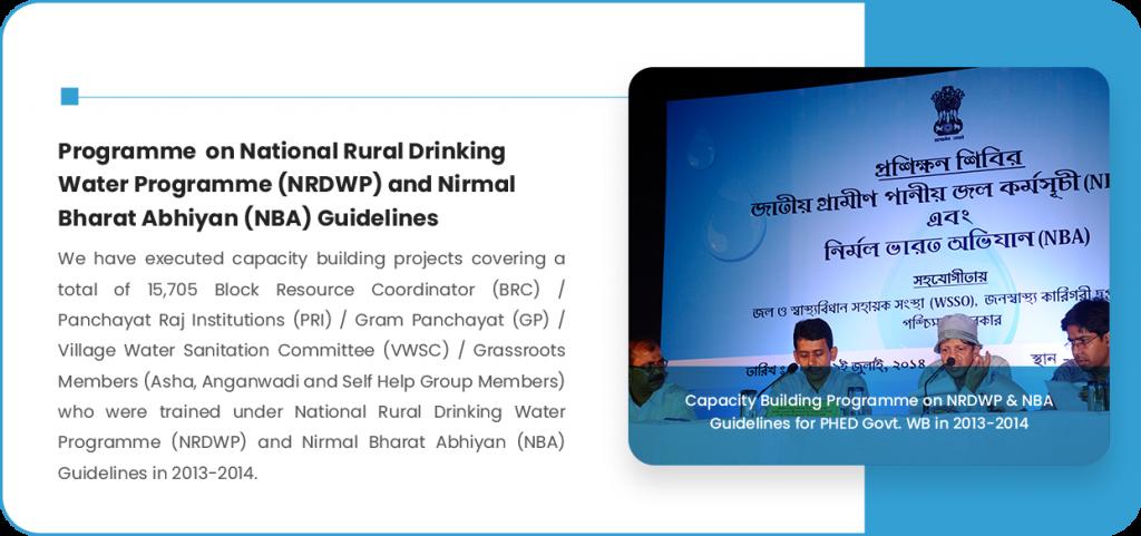 Programme on National Rural Drinking Water Programme (NRDWP) and Nirmal Bharat Abhiyan (NBA) Guidelines